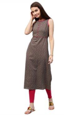 Jaipur Kurti Brown Printed Cotton Long Kurta