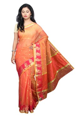 Pavecha's Orange Printed Cotton Silk Kota Doria Kota Saree