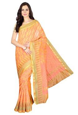Pavecha's Orange Printed Cotton Silk Banarasi Saree