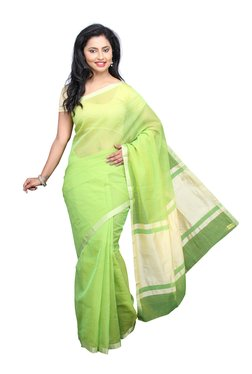 Pavecha's Green Checks Cotton Silk Kota Doria Kota Saree