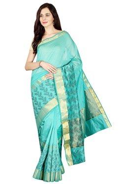 Pavecha's Green Printed Cotton Silk Banarasi Saree - Mp000000002196668