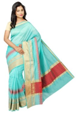 Pavecha's Blue Printed Cotton Silk Banarasi Saree - Mp000000002196685