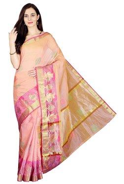Pavecha's Pink Printed Cotton Silk Kota Doria Kota Saree