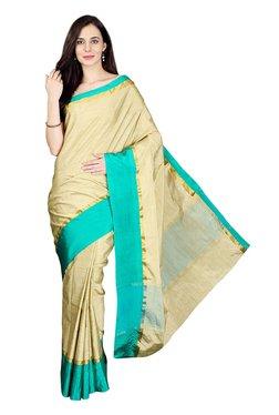 Pavecha's Beige & Turquoise Cotton Silk Banarasi Saree