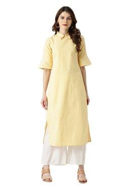 Libas Yellow Striped Cotton Straight Kurta