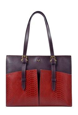 Hidesign Virgo 02 Red & Purple Textured Leather Shoulder Bag