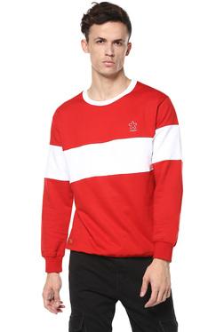 Celio* Red & White Round Neck Regular Fit Sweatshirt