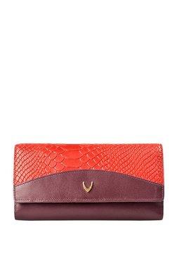 Hidesign Virgo W1 SB Purple & Red Textured Tri-Fold Wallet