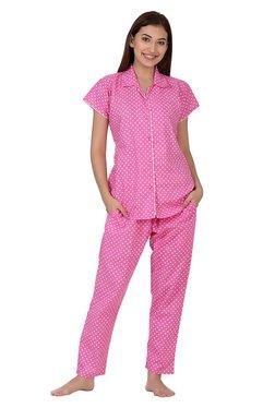 Clovia Pink Polka Dot Pyjama Set