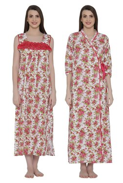 Clovia Off White & Red Floral Print Nighty With Robe