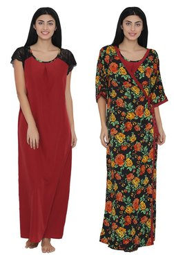 Clovia Red Floral Print Nighty With Robe