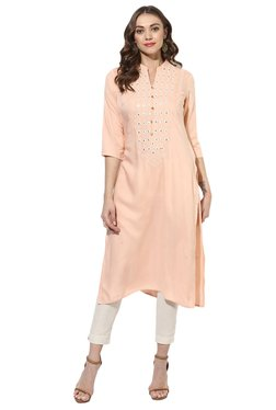 Juniper Peach Embroidered Rayon Viscose Straight Kurta