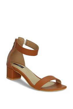 Get Glamr Nydaredia Dark Tan Ankle Strap Sandals
