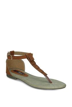 Get Glamr Nalaz Dark Tan T-Strap Sandals