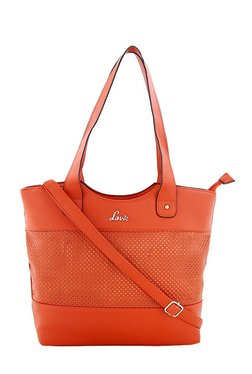 Lavie Kinship Maya Orange Cut Work Shoulder Bag