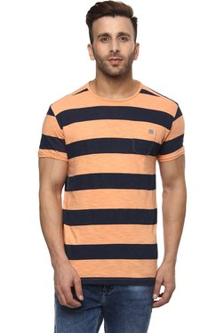 Mufti Orange & Navy Slim Fit Striped T-Shirt