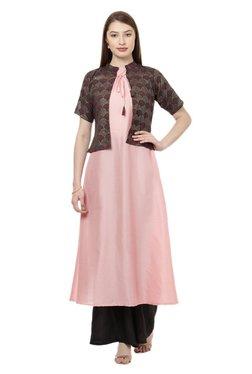 Ziyaa Pink Printed Poly Silk Flared Kurta With Jacket