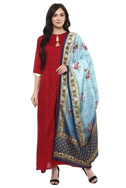 Ziyaa Maroon & Blue Poly Silk Kurta With Dupatta