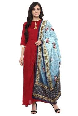 Ziyaa Maroon & Blue Poly Silk Kurta With Dupatta