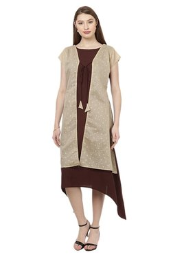 Ziyaa Maroon & Beige Crepe Flared Kurta With Jacket