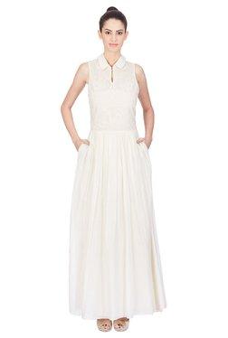 Label Ritu Kumar Off White Lace Maxi Dress