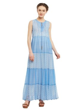 Label Ritu Kumar Blue Printed Maxi Dress