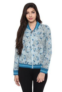 Label Ritu Kumar Blue Floral Print Jacket