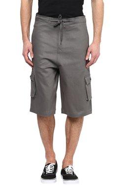 Hypernation Charcoal Mid Rise Regular Fit Cotton Shorts