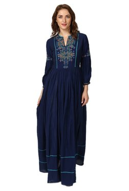 Label Ritu Kumar Navy Printed Maxi Dress - Mp000000002224437