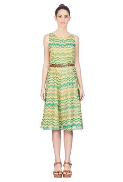 Label Ritu Kumar Green & Yellow Knee Length Dress