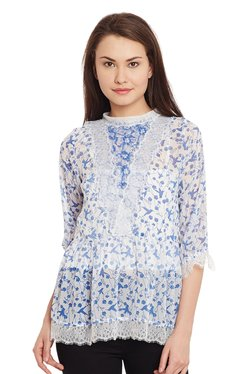 The Yellow Hanger Blue & White Printed Victorian Top