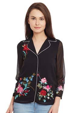 The Yellow Hanger Black Embroidered Shirt