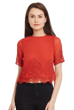 The Yellow Hanger Red Embroidered Crop Top