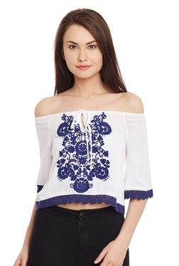The Yellow Hanger White Embroidered Bardot Top