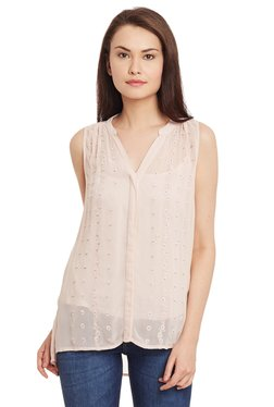 The Yellow Hanger Light Pink Embroidered Beaded Top