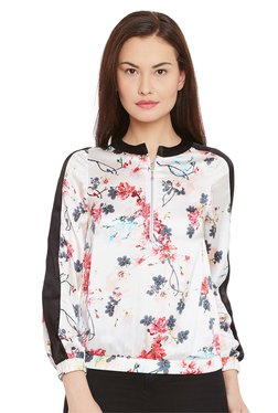 The Yellow Hanger White Floral Print Sports Top