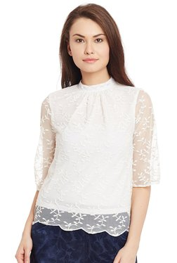 The Yellow Hanger White Embroidered Scallop Edge Blouse