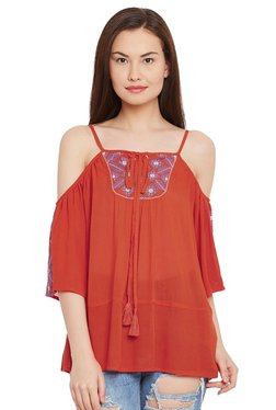 The Yellow Hanger Orange Embroidered Cold Shoulder Top