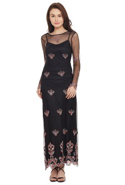 The Yellow Hanger Black Embroidered Maxi Dress