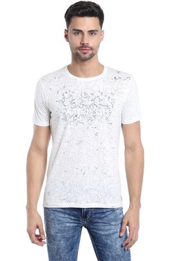 Killer White Round Neck Printed T-Shirt