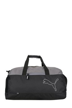 Puma Echo Black & Quiet Shade Printed Polyester Duffle Gym Bag