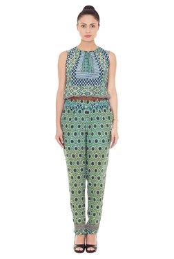 Label Ritu Kumar Green & Blue Printed Jumpsuit