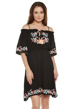 The Yellow Hanger Black Embroidered Above Knee Dress