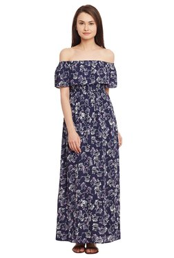 The Yellow Hanger Navy Floral Print Maxi Dress