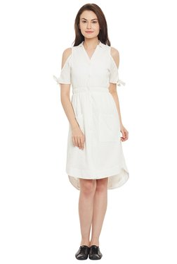 The Yellow Hanger White Embroidered Knee Length Dress