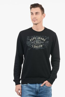 Pepe Jeans Black Cotton Blend Sweatshirt