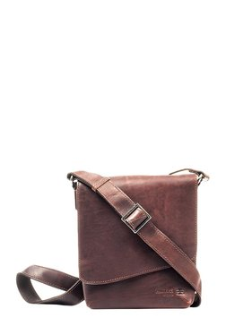 Pavers England Dark Brown Distressed Leather Flap Sling Bag