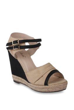 Bruno Manetti Beige & Black Ankle Strap Wedges