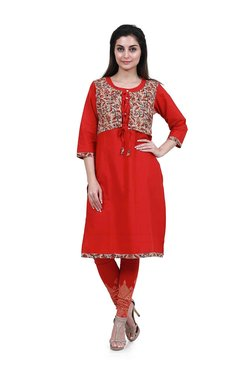 Mytri Red Printed Straight Kurta