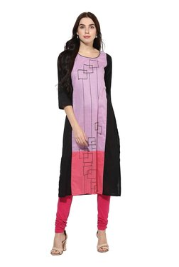 Mytri Purple & Black Printed Straight Kurta